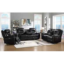Garrett Black Power Sofa w/Power Headrest & Dropdown Table