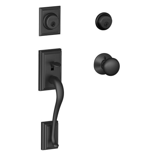 Addison Double Cylinder Handleset and Plymouth Knob - Matte Black