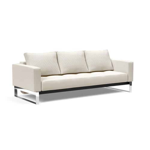 """DELUXE QUILT SOFA SEAT, 55""""X79""""/DELUXE SOFA BACK W/CUSHIONS/FL DELUXE ARM RESTS, 1 SET/FL RUNNER LEGS FOR ARM RESTS, CHROME/MAT"""