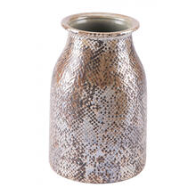 Short Snake Skin Vase Brown