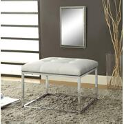 Contemporary White and Chrome Ottoman Product Image