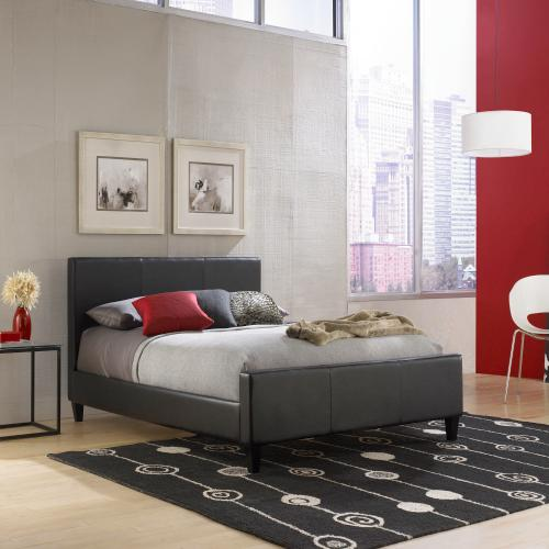 Euro Complete Faux Leather Upholstered Platform Bed and Bedding Support System with 30-Inch Headboard, Black Finish, Queen