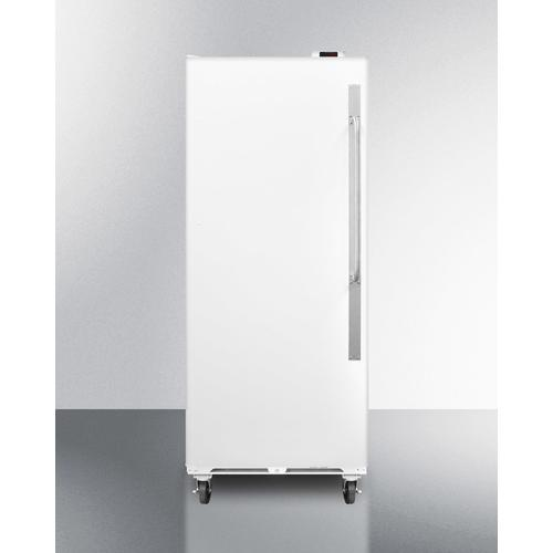 Commercially Approved Large Capacity Upright All-freezer With Frost-free Operation, Digital Thermostat, Casters, Lock, and Left Hand Door Swing