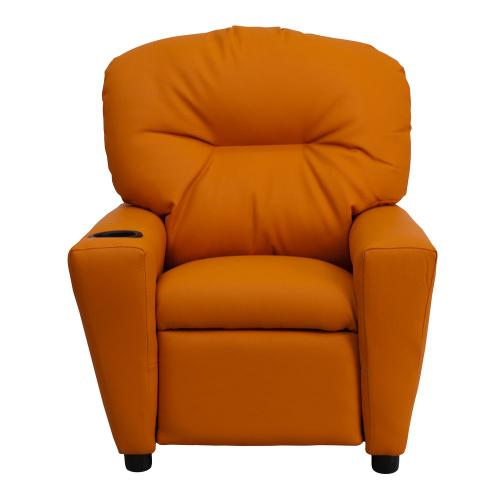 Contemporary Orange Vinyl Kids Recliner with Cup Holder