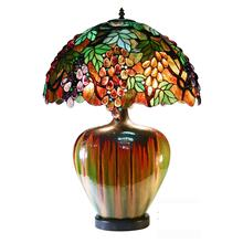 View Product - Tiffany Style Grape Lamp With Ceramic Base