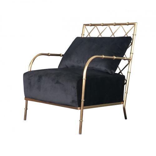 VIG Furniture - Divani Casa Ignacio - Glam Black Velvet & Gold Accent Chair