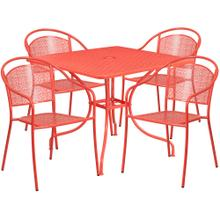 35.5'' Square Coral Indoor-Outdoor Steel Patio Table Set with 4 Round Back Chairs