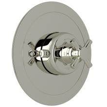 Holborn Thermostatic Trim Plate without Volume Control - Polished Nickel with Cross Handle