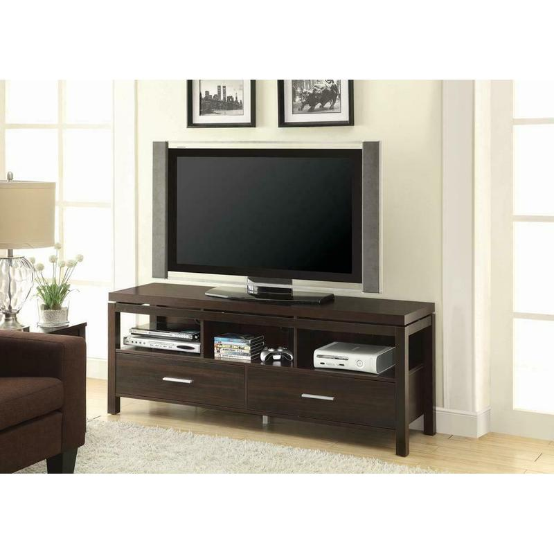 View Product - Transitional Dark Brown TV Console