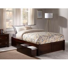 Concord King Flat Panel Foot Board with 2 Urban Bed Drawers Walnut