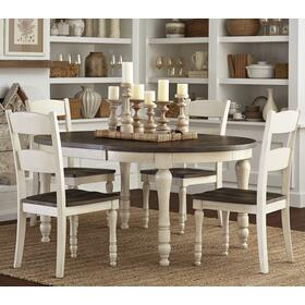 Madison County Round To Oval Table & 4 Chairs Vintage White