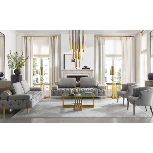 VIG Furniture - Modrest Kodiak - Glam Clear Glass and Gold Glass Coffee Table