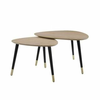 ACME Allison 2Pc Pk Nesting Tables - 83230 - Mid-Century - Wood (Solid), MDF - Natural and Black