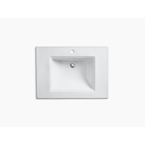 """White 30"""" Pedestal Bathroom Sink With Single Faucet Hole"""
