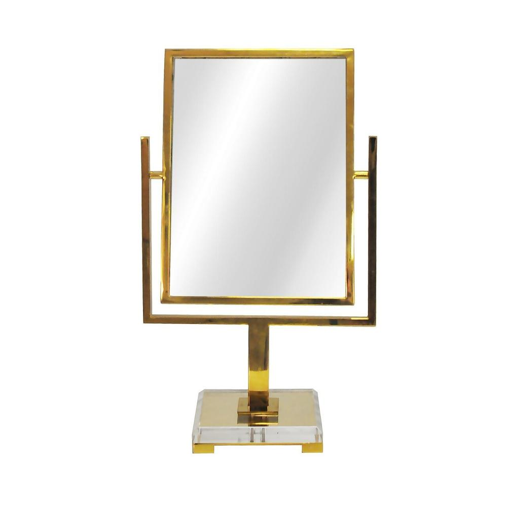 Perfect for A Quick Lipstick Touch-up Before Dashing Out the Door, Our Adjustable Caitlin Countertop Mirror Is Finished In Polished Brass With an Elegant, Beveled Acrylic Base and Brass Feet. Perfect for Guest Suites, Powder Rooms, and Entry Consoles Alike.