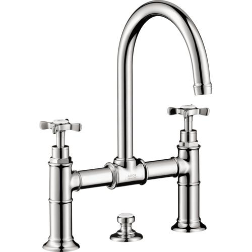 Chrome 2-Handle Faucet 220 with Cross Handles and Pop-Up Drain, 1.2 GPM