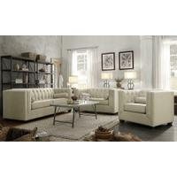 Cairns Transitional Oatmeal Tufted Back Loveseat Product Image