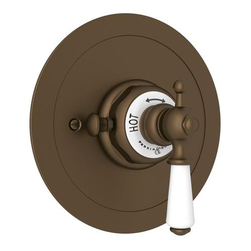 English Bronze Perrin & Rowe Edwardian Era Round Thermostatic Trim Plate Without Volume Control with Edwardian Metal Lever