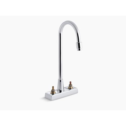 Polished Chrome Centerset Commercial Bathroom Sink Faucet With Gooseneck Spout and Aerator, Requires Handles, Drain Not Included