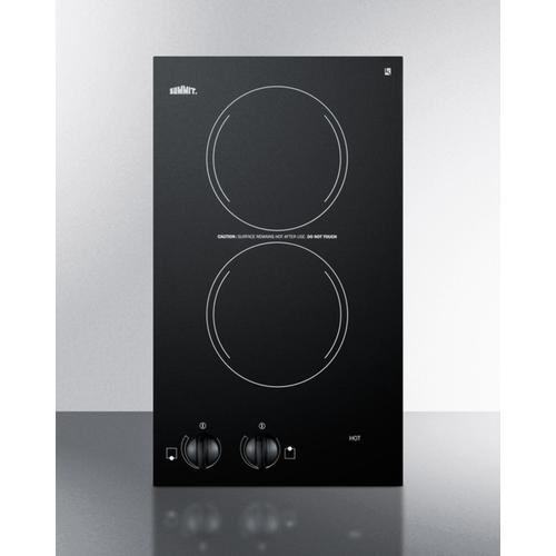220v Two-burner Cooktop In Black Ceramic Glass, Made In Europe  (cooktop_0013)  Open BOX 1 ONLY
