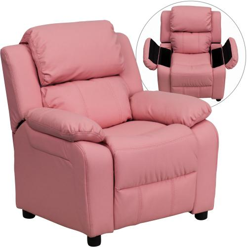 Deluxe Padded Contemporary Pink Vinyl Kids Recliner with Storage Arms