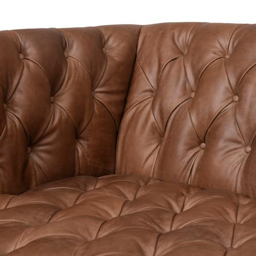 "75"" Size Natural Washed Chocolate Cover Williams Leather Sofa"