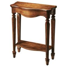 The slim, carved legs of the dark toffee Cheshire table add beauty to your home. The rich brown, distressed finish over oak veneer really shows class. Display your favorite d cor and family photos on this console table.