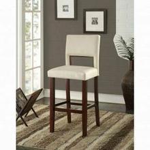 "ACME Reiko Bar Chair (1Pc) - 96610 - White PU & Espresso - 30"" Seat Height"