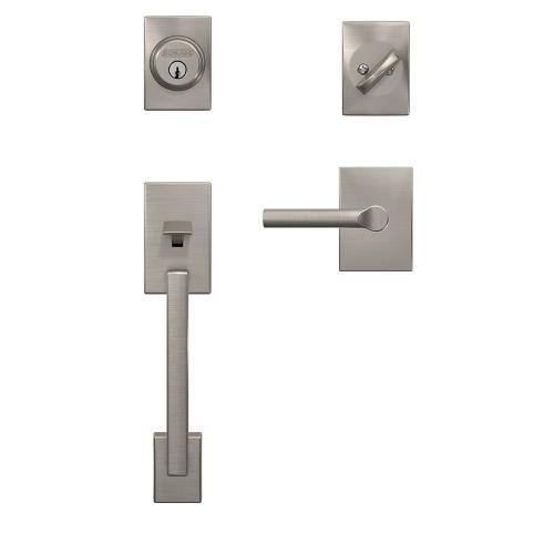 Custom Century Single Cylinder Handleset and Interior Broadway Lever with Century Trim - Satin Nickel