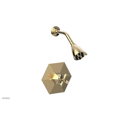 Phylrich - LE VERRE & LA CROSSE Pressure Balance Shower Set - Cross Handle PB3171 - Satin Brass