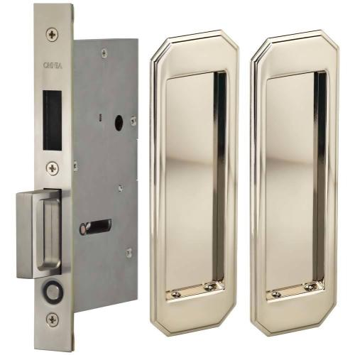 Pair Dummy Pocket Door Lock with Traditional Rectangular Trim featuring Mortise Edge Pull in (US14 Polished Nickel Plated, Lacquered)