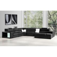 See Details - Divani Casa Polaris - Contemporary Black Bonded Leather U Shaped Sectional Sofa with Lights