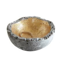 """See Details - 2-1/2"""" Round Decorative Cement Bowl w/ Gold Detail"""