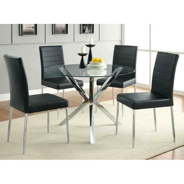 See Details - Vance Black and Chrome Dining Chair