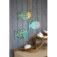 See Details - set of 3 painted wooden fish wall hangings