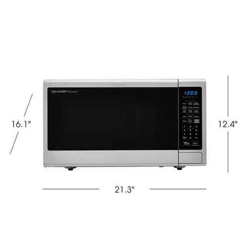 Product Image - 1.4 cu. ft. 1000W Sharp Black Carousel Countertop Microwave Oven