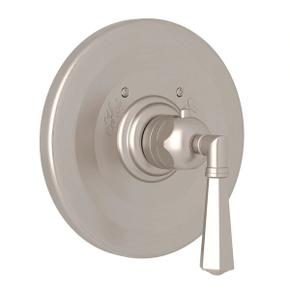 Palladian Thermostatic Trim Plate without Volume Control - Satin Nickel with Metal Lever Handle