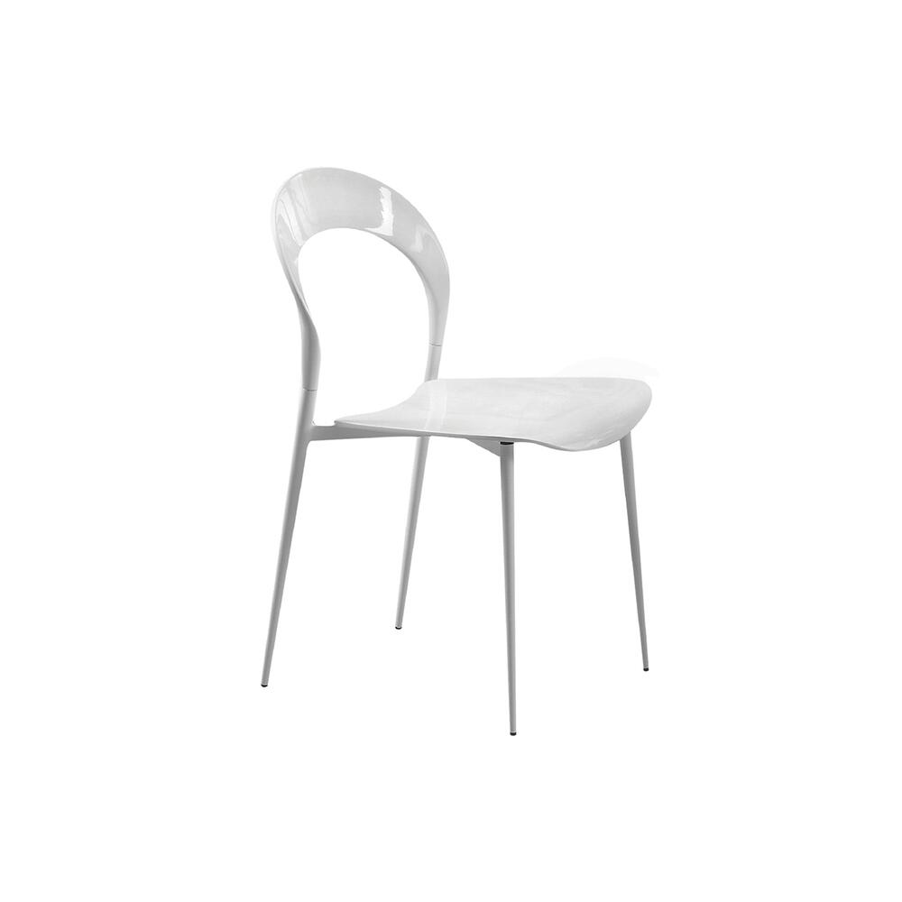 The Rider High Gloss White Lacquer Dining Chair