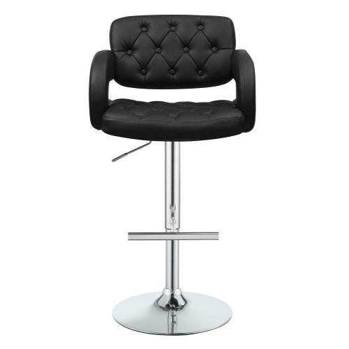 Coaster - Contemporary Black Faux Leather Adjustable Bar Stool