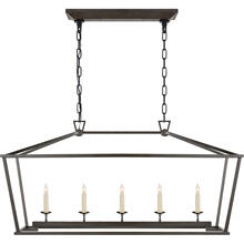 E. F. Chapman Darlana 5 Light 41 inch Aged Iron Linear Lantern Ceiling Light