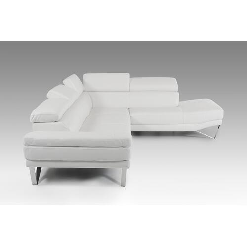 VIG Furniture - David Ferrari Aria - Italian Modern White Leather Sectional Right Facing Sofa