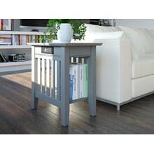 See Details - Mission Chair Side Table with Charger Atlantic Grey