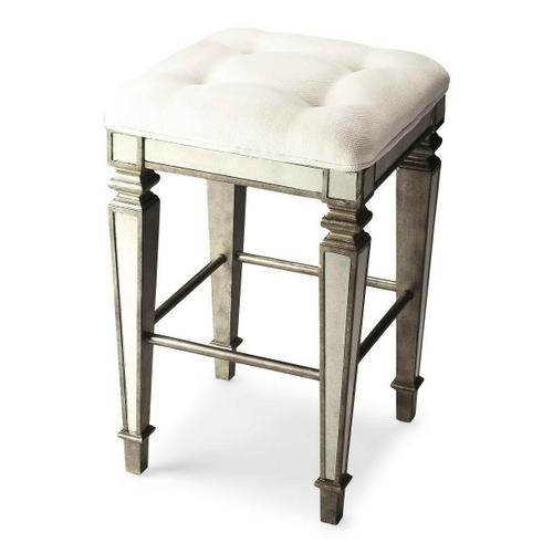 Butler Specialty Company - This glamorous bar stool delivers vintage style to your home with antique mirror inlays along its legs and apron and a tufted cotton upholstered ivory cushion. It is hand crafted from select hardwood solids and wood products featuring a pewter finish for a stylish contrast.