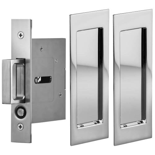 Product Image - Passage Pocket Door Lock with Modern Rectangular Trim featuring Mortise Edge Pull in (US26 Polished Chrome Plated)
