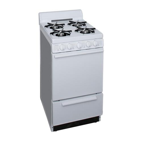 Premier - 20 in. Freestanding Battery-Generated Spark Ignition Gas Range in White