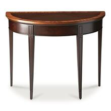 With simple lines, traditional styling and demilune shape, this elegant console table will enhance your space for years to come. Crafted from select solid woods and choice veneers, this classic design boasts a rich Cherry Nouveau finish and a beautiful cherry veneer top framed within a mozambique veneer border. The front apron and tapered legs are adorned with lovely carved details. It is the perfect addition in the living room, hall or entryway.