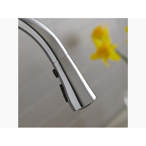 """Polished Chrome Kitchen Sink Faucet With 15-3/8"""" Pull-down Spout"""