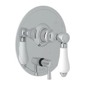 Pressure Balance Trim with Diverter - Polished Chrome with White Porcelain Lever Handle