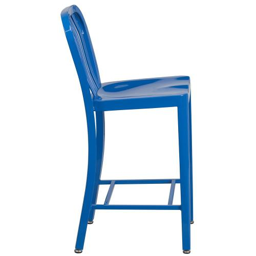 24'' High Blue Metal Indoor-Outdoor Counter Height Stool with Vertical Slat Back