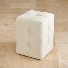 See Details - Belted Poof-Ivory Marbled Leather